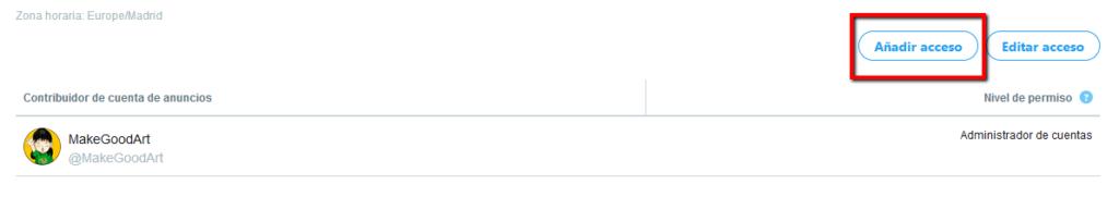 MakeGoodArt añadir acceso a cuenta de Twitter