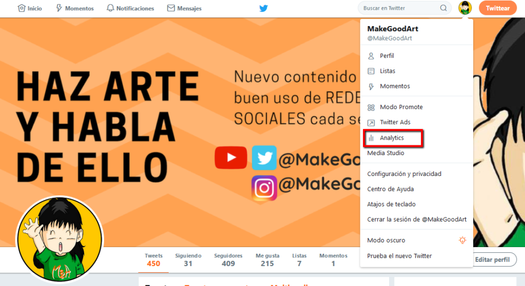 MakeGoodArt analíticas en Twitter