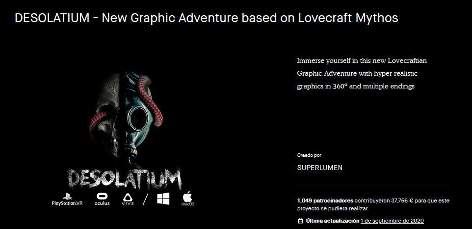 Imagen final de la campaña de Kickstarter de Desolatium.